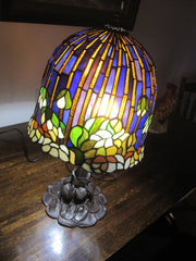 "Vintage Tiffany Metal Base 26"" Table Lamp Hand Painted Lotus Water Lily"