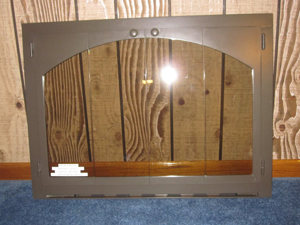 carolina arch fireplace bi fold bronze tinted glass door 37
