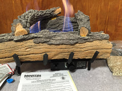 Martin Fireplace Vent- Free Natural gas Dual Burner 4 Piece Logs Set UV18TR