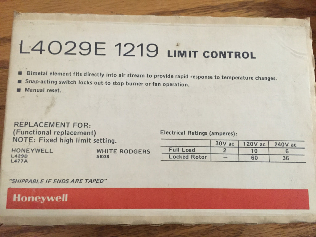 Honeywell Limit Control With Manual Reset Part L4029e 1219 Fan Switch Replacement