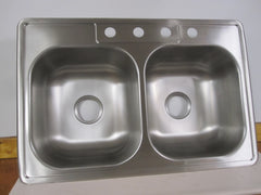 Glacier Bay 20 Ga.Brushed Stainless Steel Double Basin Kitchen Sink 755-731