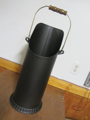 "Black Coal, pellet Wood Stove Bucket,Bin Gold Handel 20 1/2"" X 9"" Wide"