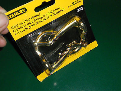 4 Stanley Brass Coat Hat Hanging Hooks 75-6100 2 In A Pack  4 Hooks