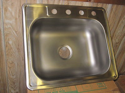 Neptune Elkay 22 Gauge Stainless Steel Drop In Single Basin 4 Hole Kitchen Sink Part #  114625