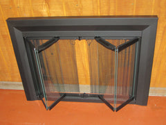 Portland Willamette Bi- Fold Black Picture Frame Fireplace Door Clear Glass 3525