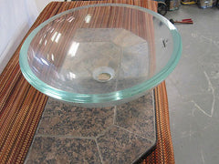 "Decolav Round Transparent Green Crystal Glass Vessel Bathroom Sink 16.75"" x 5 1/2"" Model # 1019T-TCR"