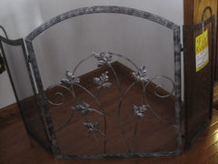 "Arched Black Embossed Fireplace Screen   52"" X 34""  Model # 24S-706"