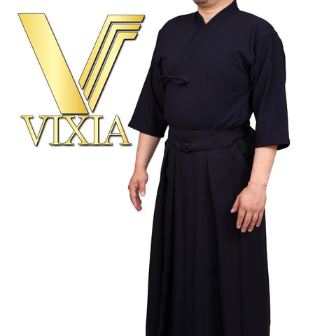 Full view of the vixia unifrom set next to the vixia logo.