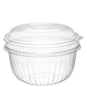 Dart PresentaBowl, 48 Ounce Clear Bowl w/ Dome Lid - 126 Bowls and 126 Lids per Case Consumables 1354