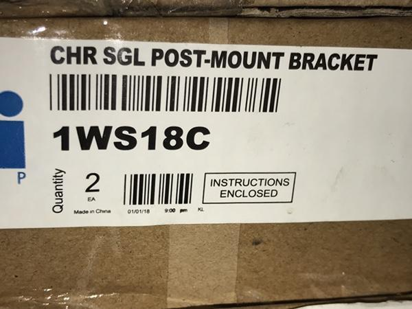 "Metro CHR SGL Post-Mount Bracket, for 18"" Shelf - 1 Set per Case Parts 1354"