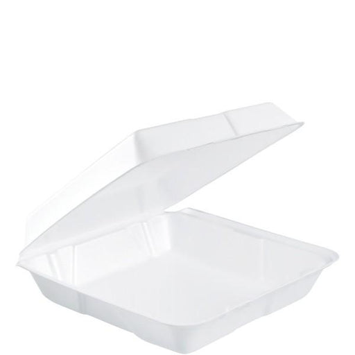"Dart Foam Hinged Lid White Container, 9.5"" x 9,25"" x 3"" - 200 per Case Consumables 1354"