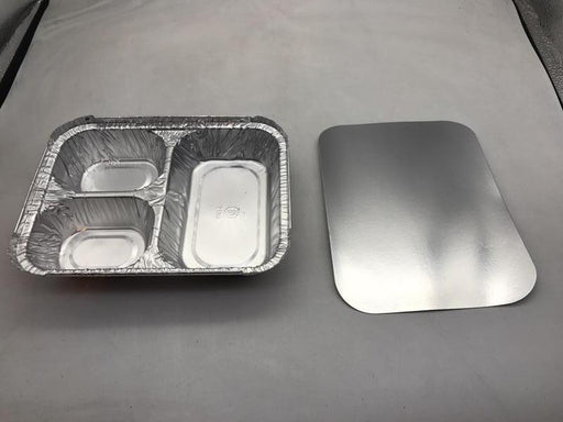Penny Plate Aluminum Tray, 3 Compartment w/ Lid Combo Pack - 250 of Each per Case Consumables 1354
