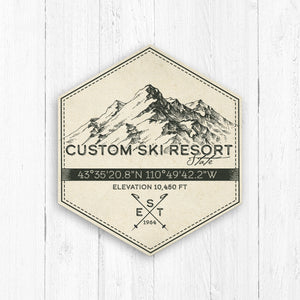 Custom Ski Resort Hexagon Badge