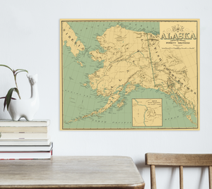Alaska State Antiqued Map Print