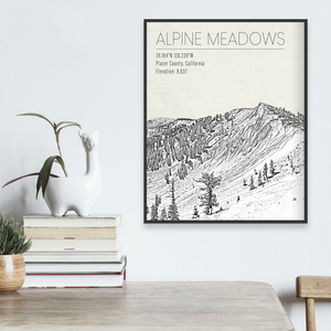 Alpine Meadows Hanging Canvas Map by Printed Marketplace
