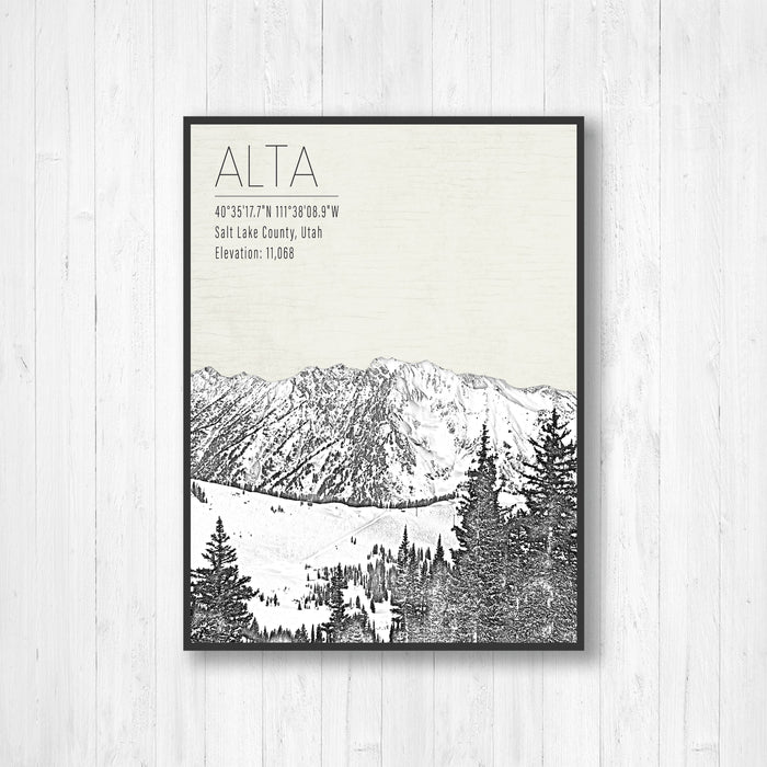 Alta Utah Ski Resort Illustration Print