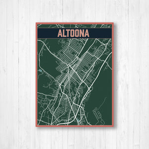 Altoona Pennsylvania Urban City Street Map Print