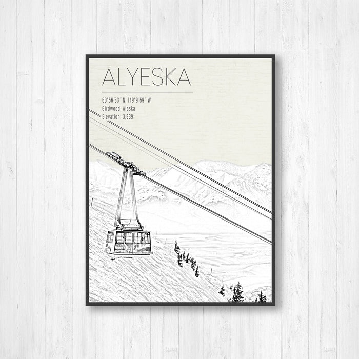 Alyeska Ski Resort Illustration Print