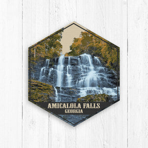 Amicalola Falls Georgia Hexagon Illustration by Printed Marketplace
