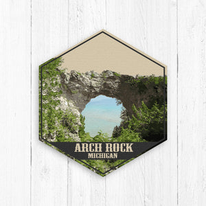 Arch Rock Michigan Hexagon Canvas Illustration