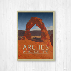 Arches National Park Utah Poster | Arches National Park Travel Illustration | Printed Marketplace