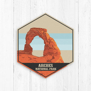 Arches National Park Utah Hexagon Illustration Print