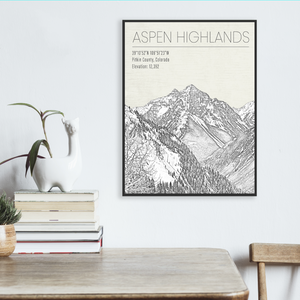 Aspen Highlands Colorado Ski Resort Illustration