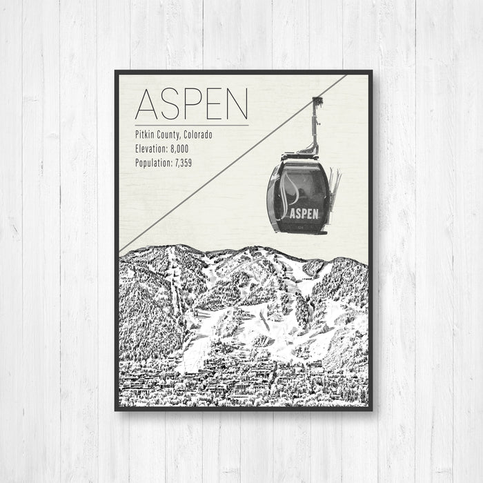 Aspen Colorado Ski Resort Illustration Print
