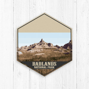 Badlands National Park South Dakota Hexagon Illustration