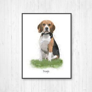 Beagle Watercolor Illustration