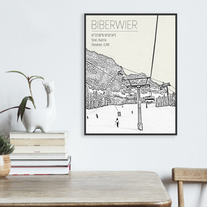 Biberwier Austria Ski Resort Illustration