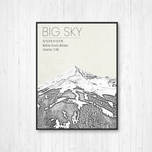 Big Sky Montana Ski Resort | Hanging Canvas of Big Sky | Printed Marketplace