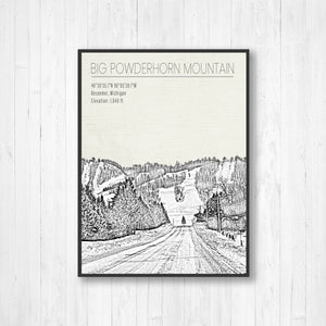 Big Powderhorn Mountain Michigan | Hanging Canvas Map of Big Powderhorn | Printed Marketplace