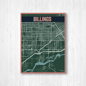 Billings Montana Urban City Street Map Print
