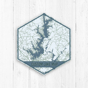 Custom Hexagon Lake Map Print by Printed Marketplace