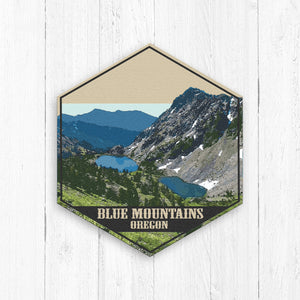 Blue Mountains Oregon Hexagon Illustration Print