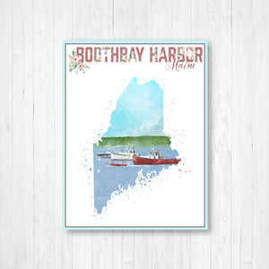 Boothbay Harbor Maine Watercolor Illustration Print