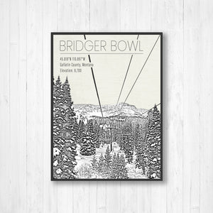 Bridger Bowl Ski Resort Hanging Canvas