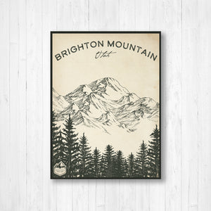 Brighton Utah Ski Resort Sketch Print | Hanging Canvas of Brighton Ski Resort | Printed Marketplace