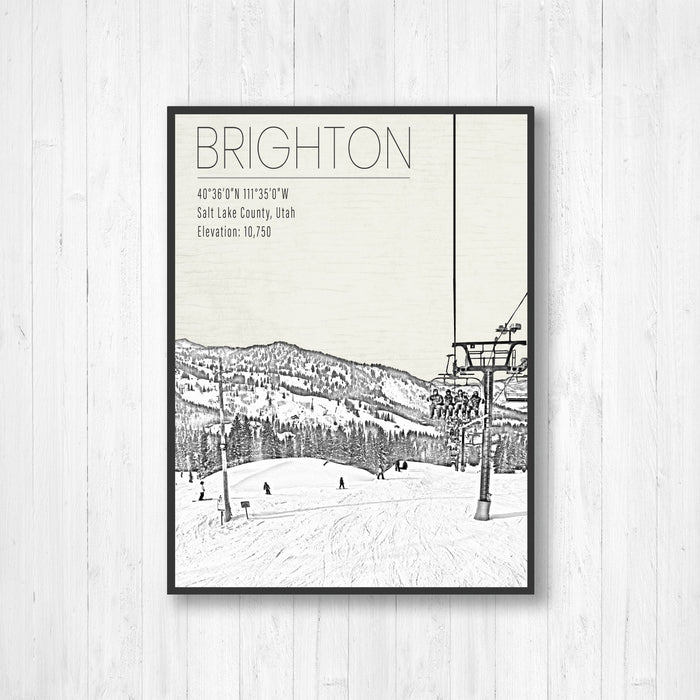 Brighton Utah Ski Resort Illustration