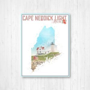 Cape Neddick Light Maine Watercolor Illustration Print