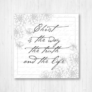 Christ is The Way The Truth and The Life Vintage Word Art