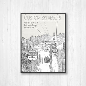 Black and white ski resort illustrations