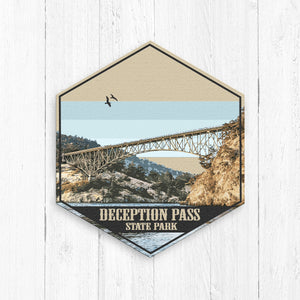 Deception Pass State Park Washington Hexagon Illustration