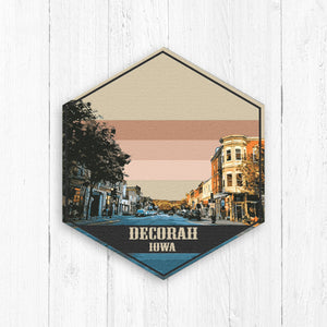Decorah Iowa Hexagon Illustration Print