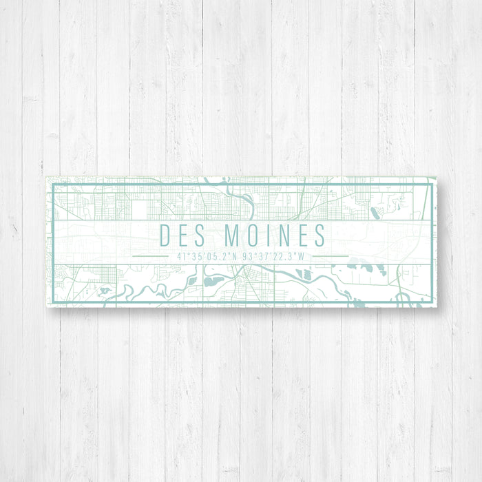 Des Moines Iowa Map Sign