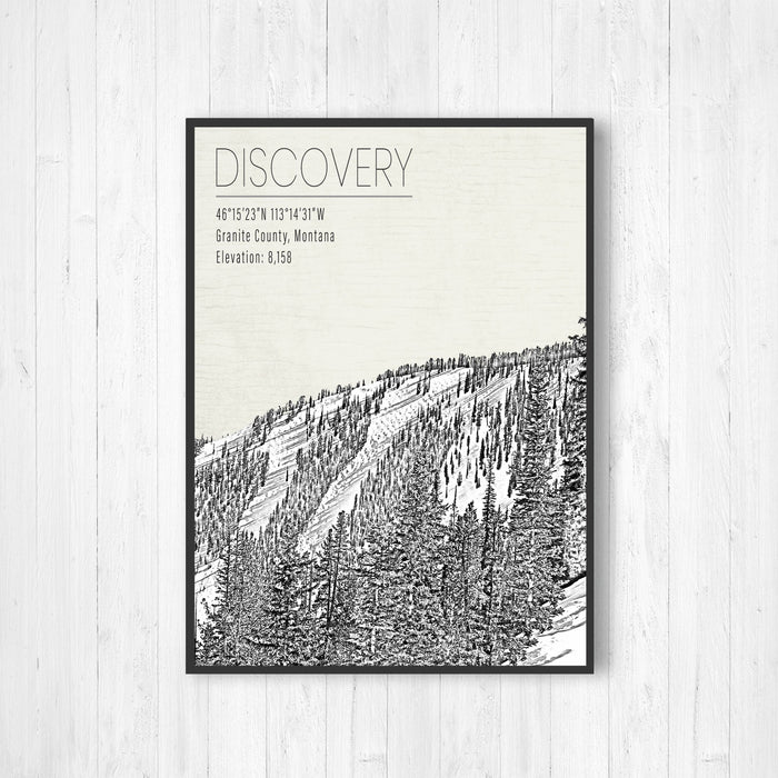 Discovery Montana Ski Resort Illustration Print