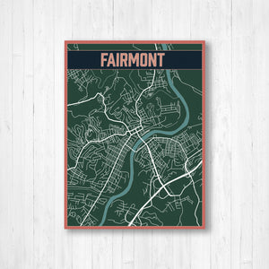 Fairmont West Virginia Street Map | Hanging Canvas Map of Fairmont | Printed Marketplace