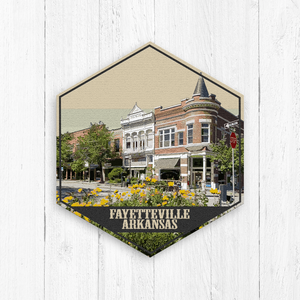 Fayetteville Arkansas Hexagon Illustration