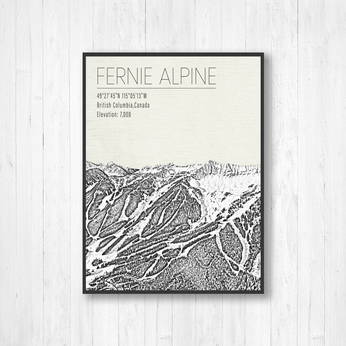 Fernie Alpine Canada Ski Resort Illustration